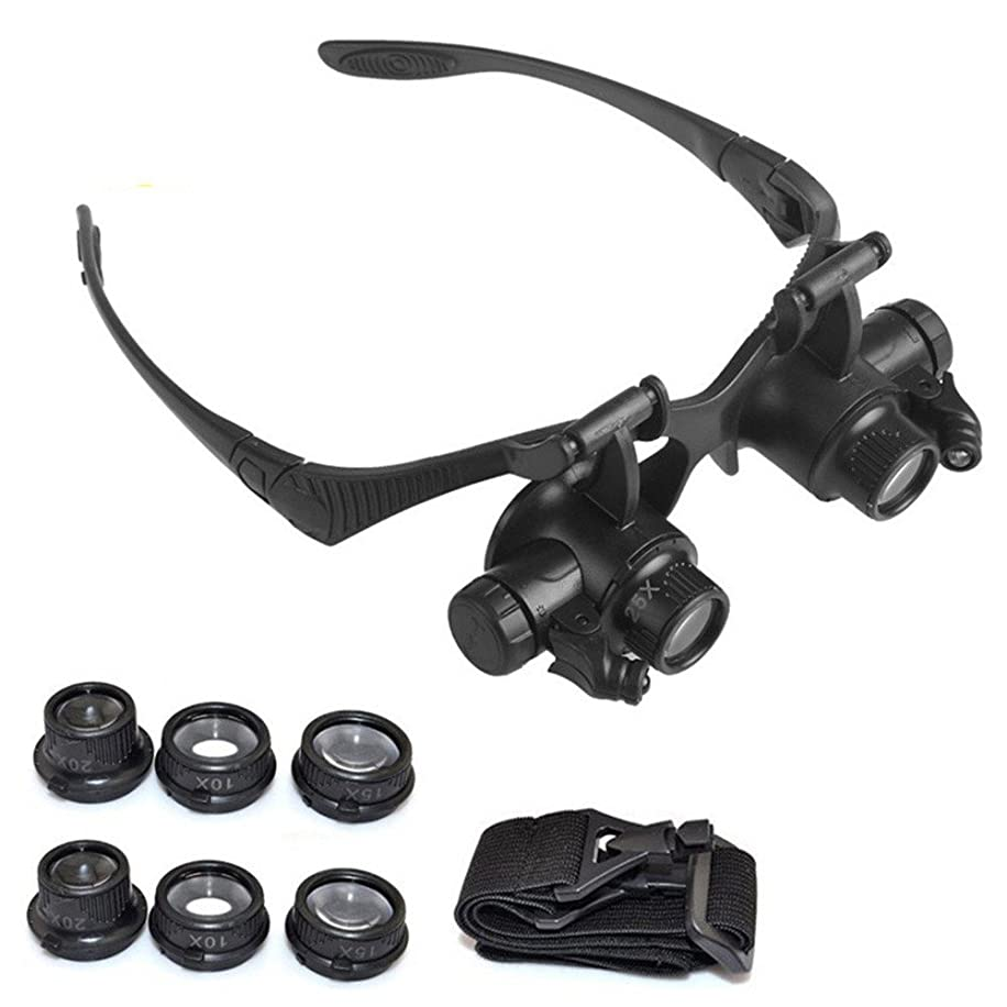 ?Euone Magnifier ?Clearance?, Double Eye Jewelry Watch Repair Magnifier Loupe Glasses with LED Light 8 Lens