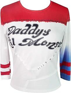 NeuFashion Lil del Monstruo Camiseta béisbol de Las Mujeres niñas Harley Quinn Cosplay de la Camiseta de Halloween del Traje de papá