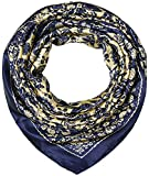 35' Ladies Satin Square Silk Like Hair Scarves and Wraps Headscarf for Sleeping Navy and Banana Mania Pattern