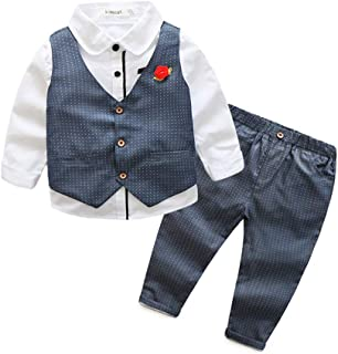 Fairy Baby Boys Outfit 3pcs Clothes Set Child Formal Long Sleeve Shirt+Pant+Vest Suit Set