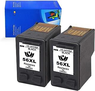 Lovyi for HP 56 57 Ink XL C6656AN C6657AN Remanufactured Ink Cartridges, Compatible with HP Deskjet 5850 5650 5150, Photosmart 7150 7260 7350 7960, PSC 2510 Printer(2 Black)