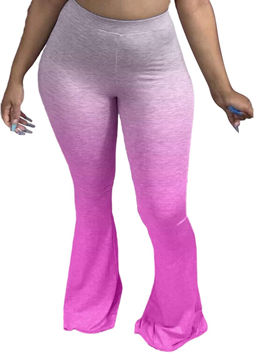 shengfan Womens Comfy Stretch Bell Bottom Pants High Waist Wide Leg Flared