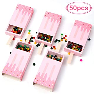 AerWo 50pcs Mini Ice Cream Shape Candy Boxes, Cute Baby Shower Favors Boxes Gifts Bags for Baby Shower Birthday Party Decoration, Pink