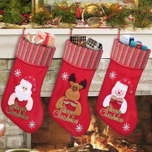 Shareconn Weihnachtsstrumpf Weihnachten Geschenktasche Zucker Beutel Weihnachtsbaum Deko, enthältet Weihnachtsmann?Davidshirsch?Schneemann, befüllen und aufhängen groß Ideale Weihnachtsdekoration