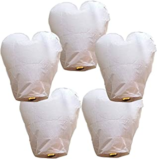 Just Artifacts 5 ECO Wire-Free Flying Chinese Sky Lanterns (Set of 5, Wire-Free Heart, White) - 100% Biodegradable, Environmentally Friendly Lanterns!