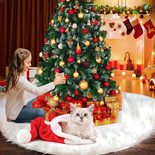 YQHbe Jupe De Sapin De Noël, 90Cm Couvre-Pied De Sapin Blanc Luxe Peluche Tapis Cache Pied Décorations Sapin De Noel pour Décorations De Noël Vacances