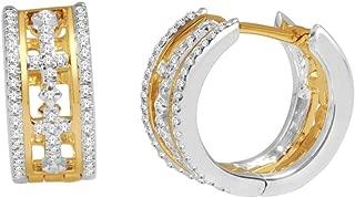 Diamond Cross Hoop Earrings 10K Yellow And White Gold Two Tone 1/3cttww Diamonds(0.33cttw)