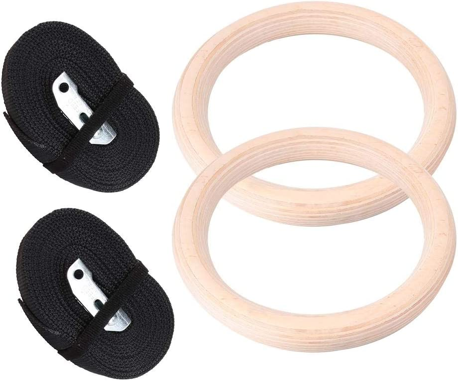 Drfeify Washington Mall 1 Pair Gymnastic Indianapolis Mall Ring with Rings Wooden Gym Professional
