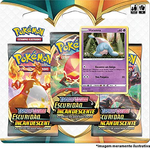 Triple Pack Pokémon Hatenna Espada e Escudo 3 Escuridão Incandescente