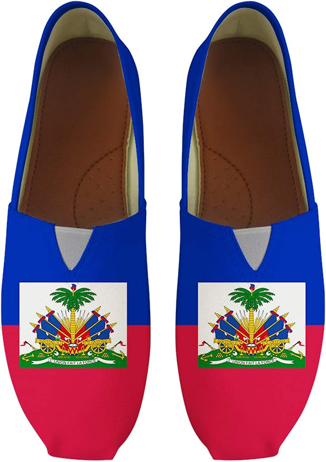 Owaheson Classic Canvas Slip-On Lightweight Driving shoes Soft Penny Loafers Men Women Haiti Flag