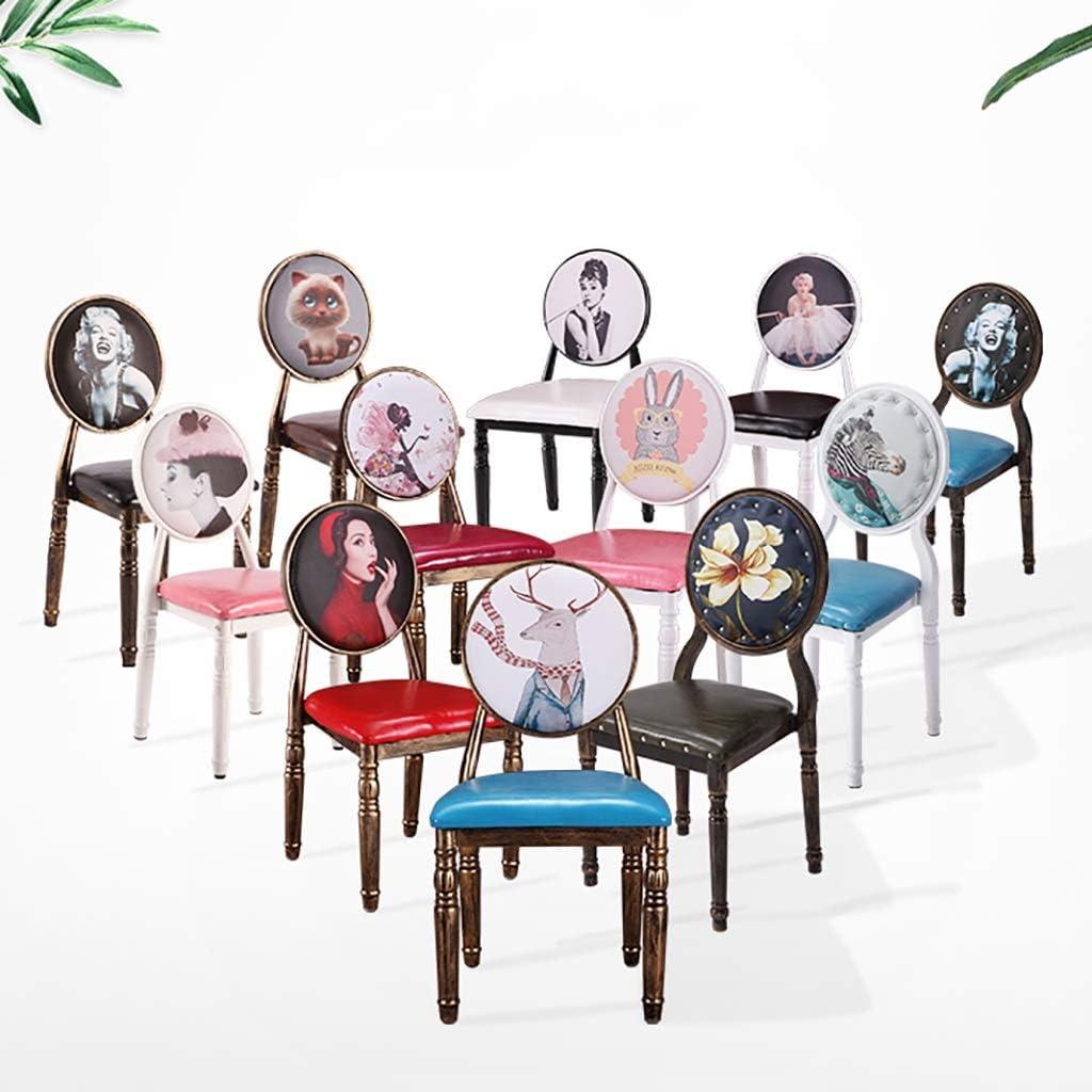 Blanc Sièges Empilés, Le Fer Chaise De Salle À Manger, Rétro Nostalgique Boutique De Thé Café Compteur Tabouret 39,5 Cm 5 Styles (Color : A) D