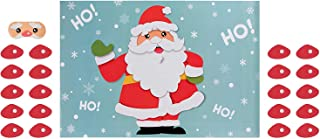 Pin the Nose on Santa Game - 2-Pack Christmas Party Fun Game Supplies, Holiday Festive Gifts Favors for Kids and Adults, Santa Claus Design, 2 Posters, 30 Nose Stickers, 1 Blindfold