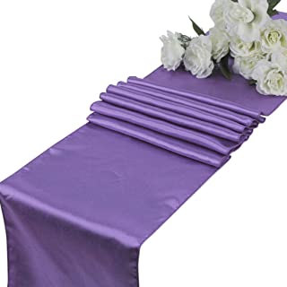 mds Pack of 10 Wedding 12 x 108 inch Satin Table Runner for Wedding Banquet Decoration- Lavender