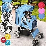 Leopet Hundebuggy für Hunde - bis 15 kg, aus Wasserdichtem Material, mit Klappfunktion und Praktischer Einkaufstasche, verfügbar - Pet Jogger, Tiere Wagen, Buggy Stroller