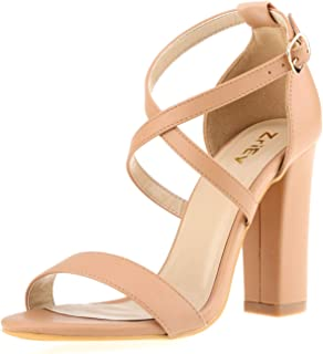 ZriEy Women's Heeled Sandals Chunky Block Strappy High Heels Ankle Strap Open Toe Sandals Party Wedding Fashion Shoes