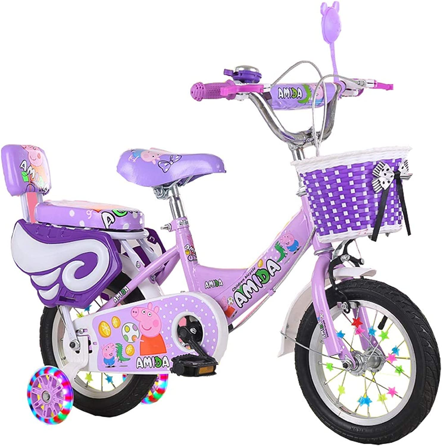 Minmin Kids Bike Boy's And Girl's Bicycle With Training Wheels And Basket For Kids, 16