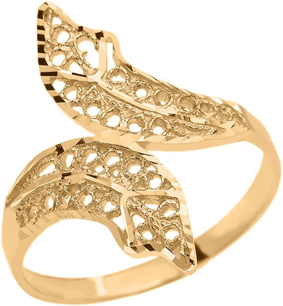 Modern Contemporary Rings Double Leaf Filigree Ring in Polished 10k Yellow Gold