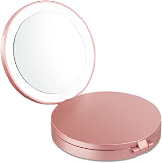 Travel Makeup Mirror with Lights and Magnification, Magicfly 10X/ 5X/ 1X LED Compact Mirror USB Rechargeable Handheld Mirror Mirror for Traveling, Rose Gold
