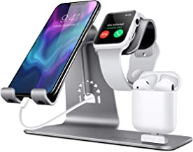 Bestand 3 in 1 Apple iWatch Stand, Airpods Charger Dock, Phone Desktop Tablet Holder for Airpods, Apple Watch/iPhone X/8 Plus/8/7 Plus/iPad, Grey(Patenting, Airpods Charging Case NOT Included)