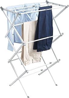 iDesign 39713EU Étendoir Extensible Brezio pour buanderie-3 Compartiments, Blanc/Gris, Acier, 74,93 x 38,25 x 100,48 cm