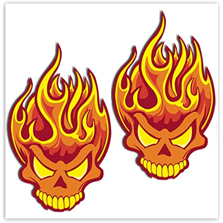 Skinoeu 2 Stück Vinyl Aufkleber Autoaufkleber Skull Schädel Totenkopf Flammen Feuer Horror Stickers Auto Moto Motorrad Fahrrad Helm Fenster Tür Tuning B 114 Auto