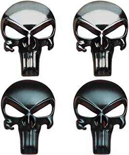 Creatrill Bundle of Black & Gunmetal Plating 3D Metal Decal/Sticker - Tactical Skull for Gun Magazine, Magwell, Mag, Car, Truck, Motorcycle, etc