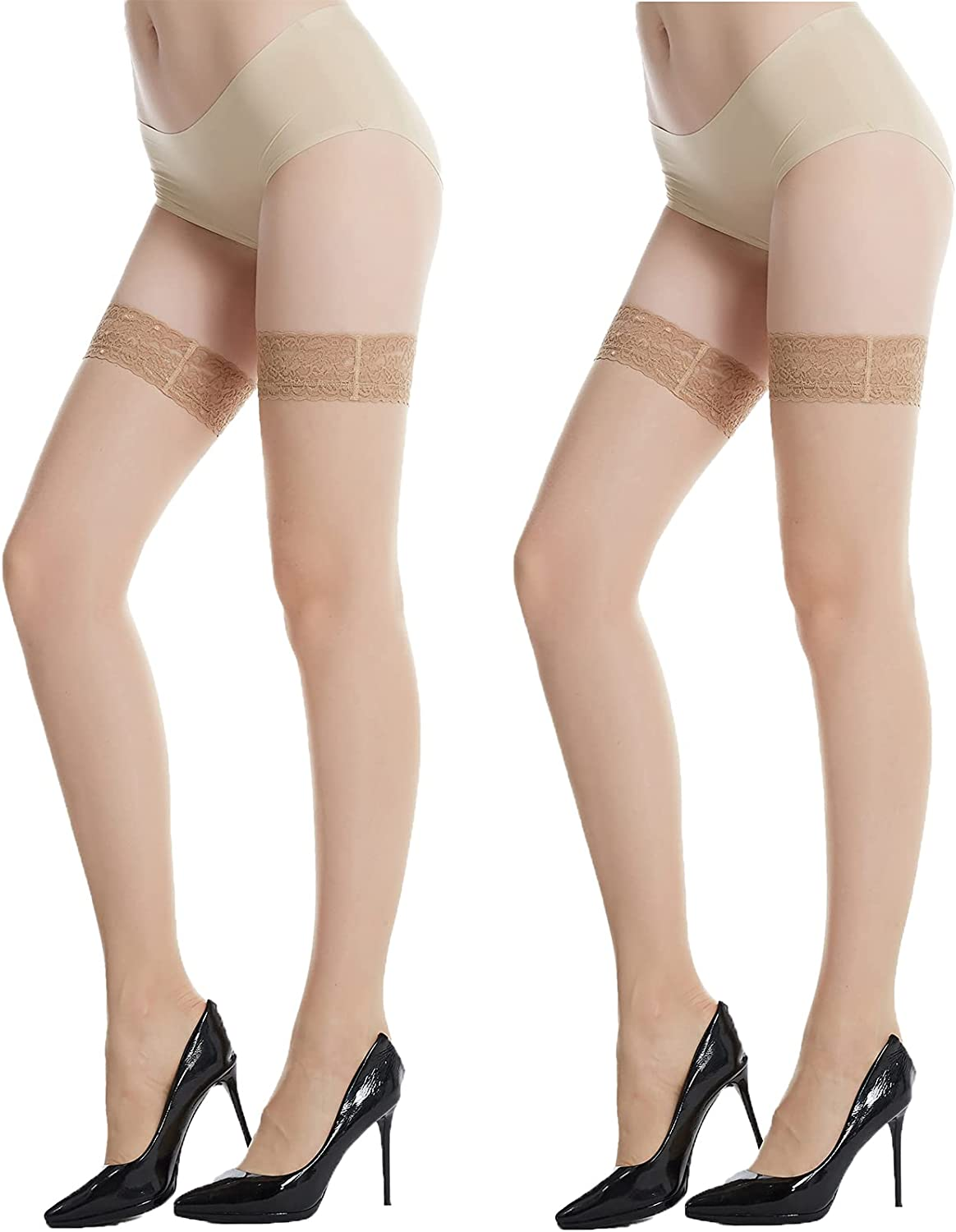 Sheer Thigh High Stocking, 2Pack Silicone Lace Top Socks, Nylon Silk Reflection Stay Up Tights for Women, Girls Lingerie