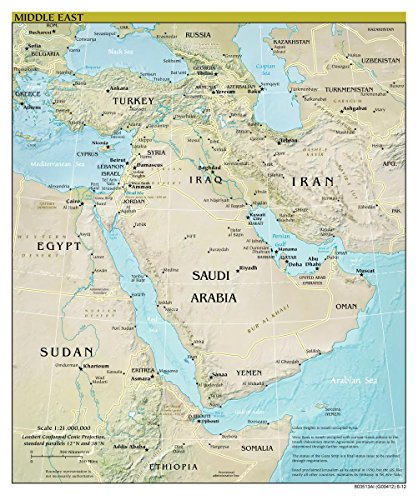 Gifts Delight Laminated 24x28 Poster: Large Scale Detailed Political map of The Middle East with Relief, Major Cities and Capitals