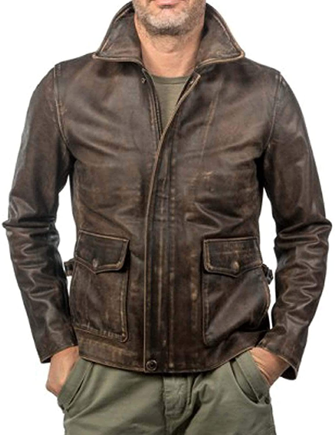Vintage Brown Indiana Jones Raiders of The Lost Ark distressed Leather Jacket,Harrison Ford American Bomber Leather Coat