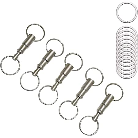 Rongbo 2 Pack Quick Release Detachable Pull Apart Key Rings Keychains,Double Spring Split Snap Seperate Chain Lock Holder Convenient Accessory Gift