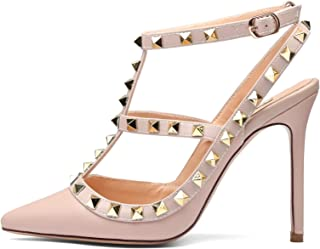 670ba00f9e3 Chris-T Women Pointed Toe High Heels Studded Strappy Slingback Stilettos  Leather Sandals Pumps 4