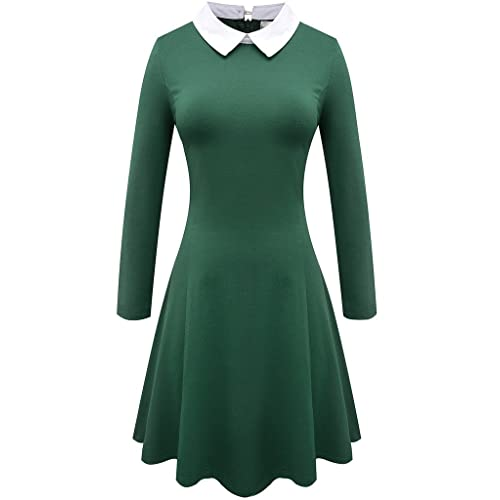 Aphratti Women s Long Sleeve Casual Peter Pan Collar Fit and Flare Skater  Dress 243a1cdb9