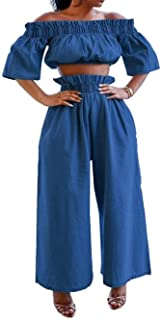 Sexy Two Piece Jeans Outfits - Demin Off The Shoulder Crop Tops Wide Leg Pants Sets Long Romper Jumpsuits