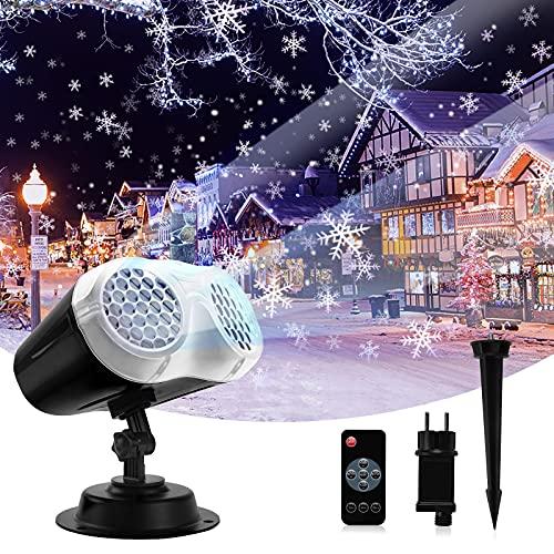 Abosea Proiettore Luci Natale LED, Proiettore di Fiocchi di Neve con Timer Telecomando per la Decorazione di Fiocchi di Neve del Giardino Della Festa di Halloween di Natale