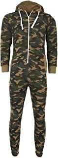 Janisramone Mens Boys New Unisex Army Camouflage Hooded Long Sleeve Zip Up All in One Onesie Jumpsuit Playsuit