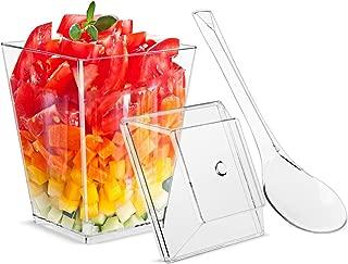 5.5oz Dessert Cups with Lids and Spoons,Plastic Clear Square Dessert Bowls Disposable Reusable Parfait Appetizer Cup-Set of 20