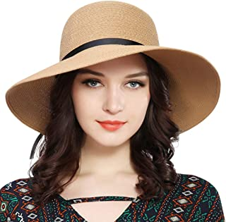 FURTALK Women Wide Brim Sun Hat Summer Beach Cap UPF50 UV Packable Straw Hat  for Travel b545bbc58d1b