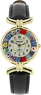 Murano Glass Millefiori Watch with Leather Band - Black