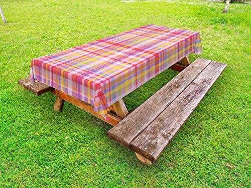 ABAKUHAUS Schotse ruit Tafelkleed voor Buitengebruik, Kleurrijke geruite Plaid, Decoratief Wasbaar Tafelkleed voor Picknicktafel, 58 x 120 cm, Veelkleurig