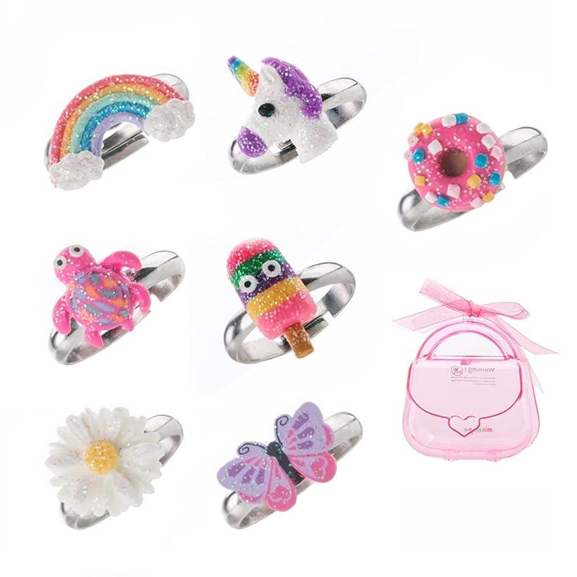 ライン思春期の告白するAdjustable Rings Set for Little Girls - Colourful Cute Unicorn, Butterfly Rings for Kids Made of Polymer Clay, Children's Jewellery Set of 7