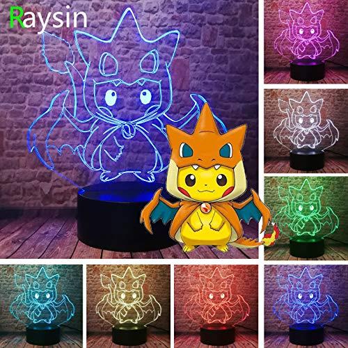 Pokemon Go Actionfigur Pikachu Eevee Schildkröte Vogel Feuer Drache Pokeball Ball Aur Bay Rolle 3D LED Nachtlicht USB Tischlampe Kinder Geburtstag Geschenk Nachtdekoration am Bett
