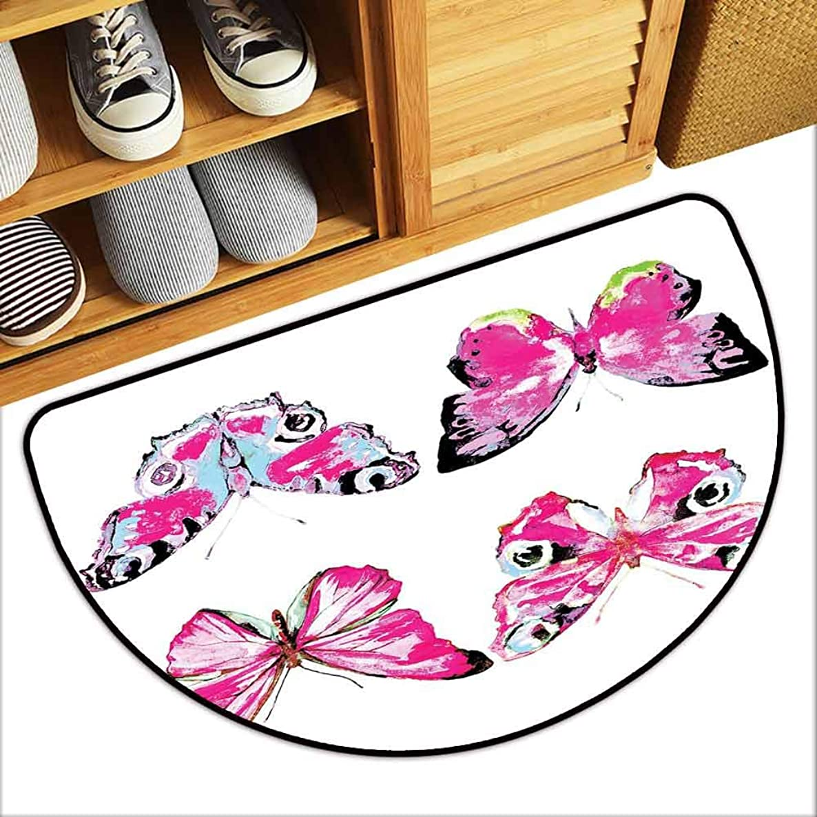 DILITECK Door mat Watercolor Set of Artistic Butterflies Spring Nature Wildlife Insects Vintage Machine wash/Non-Slip W36 xL24 Pink Baby Blue Black