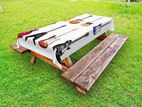 ABAKUHAUS Gitaar Tafelkleed voor Buitengebruik, String Instruments Jazz, Decoratief Wasbaar Tafelkleed voor Picknicktafel, 58 x 84 cm, Veelkleurig