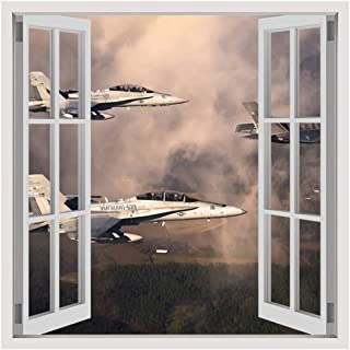 Alonline Art - Fighter Jets In The Clouds by Fake 3D Window | print on wall sticker vinyl decal (Rolled) | 35