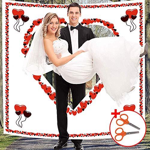Hochzeitsherz zum Ausschneiden - 1.8 x 2m Hochzeits Laken mit Mini Scheren Set - Hochzeits Deko Bettlaken mit Herz Ballon Design für Hochzeit Braut und Bräutigam Hochzeit Standesamt Hochzeits Spiele