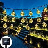 Nasharia LED Solar Lichterkette mit LED Kugel 6.5M 30 LEDs 8 Modi IP65 Wasserdicht Lichterkette mit Lichtsensor, Kristallbälle Beleuchtung für Garten Terrasse Hof Haus Party (Warmweiß)