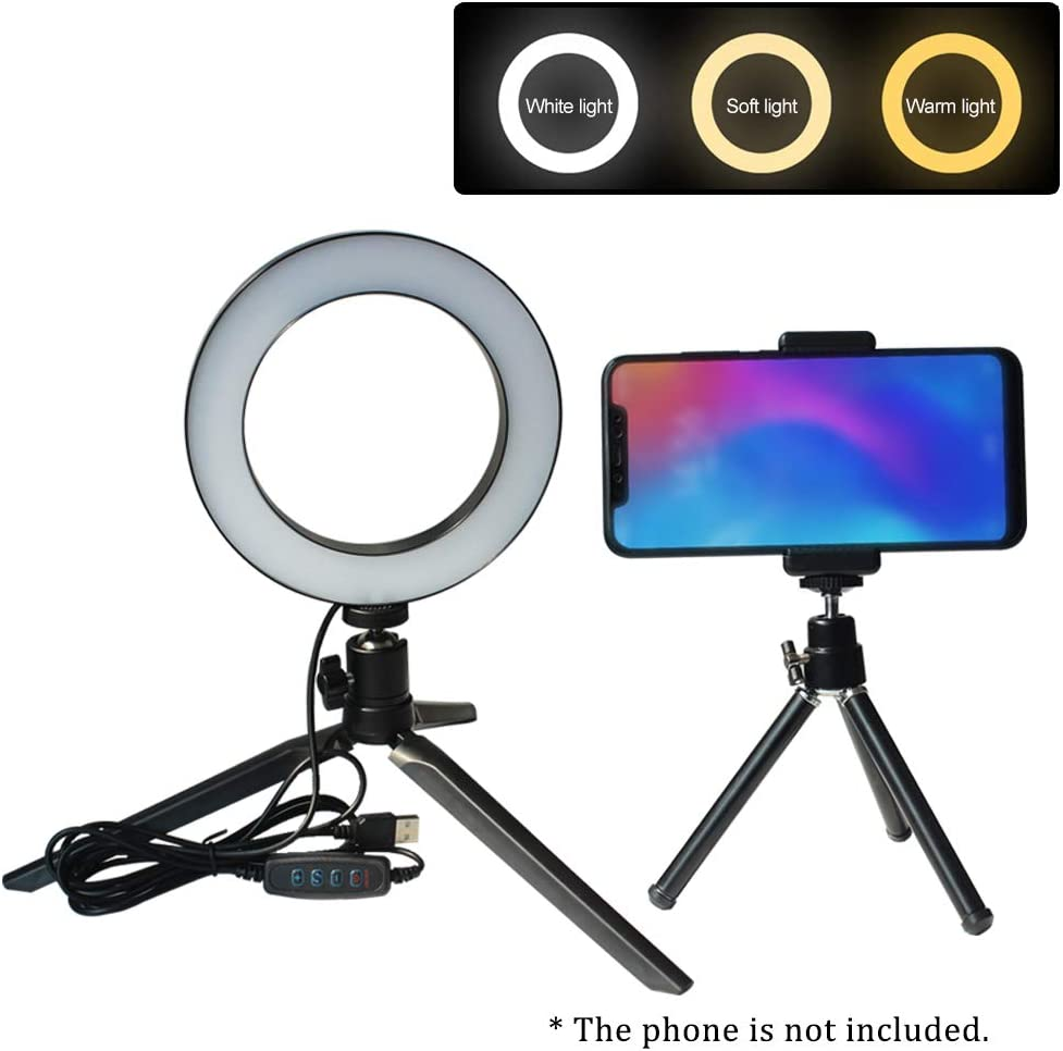 Galapara O Ring Light Selfie Camera Lamp with Mini Tripod USB Powered Operated 10 Levels Adjustable Brightness Dimmable Color Temperature Changing 360/° Rotatable Illumination Angle