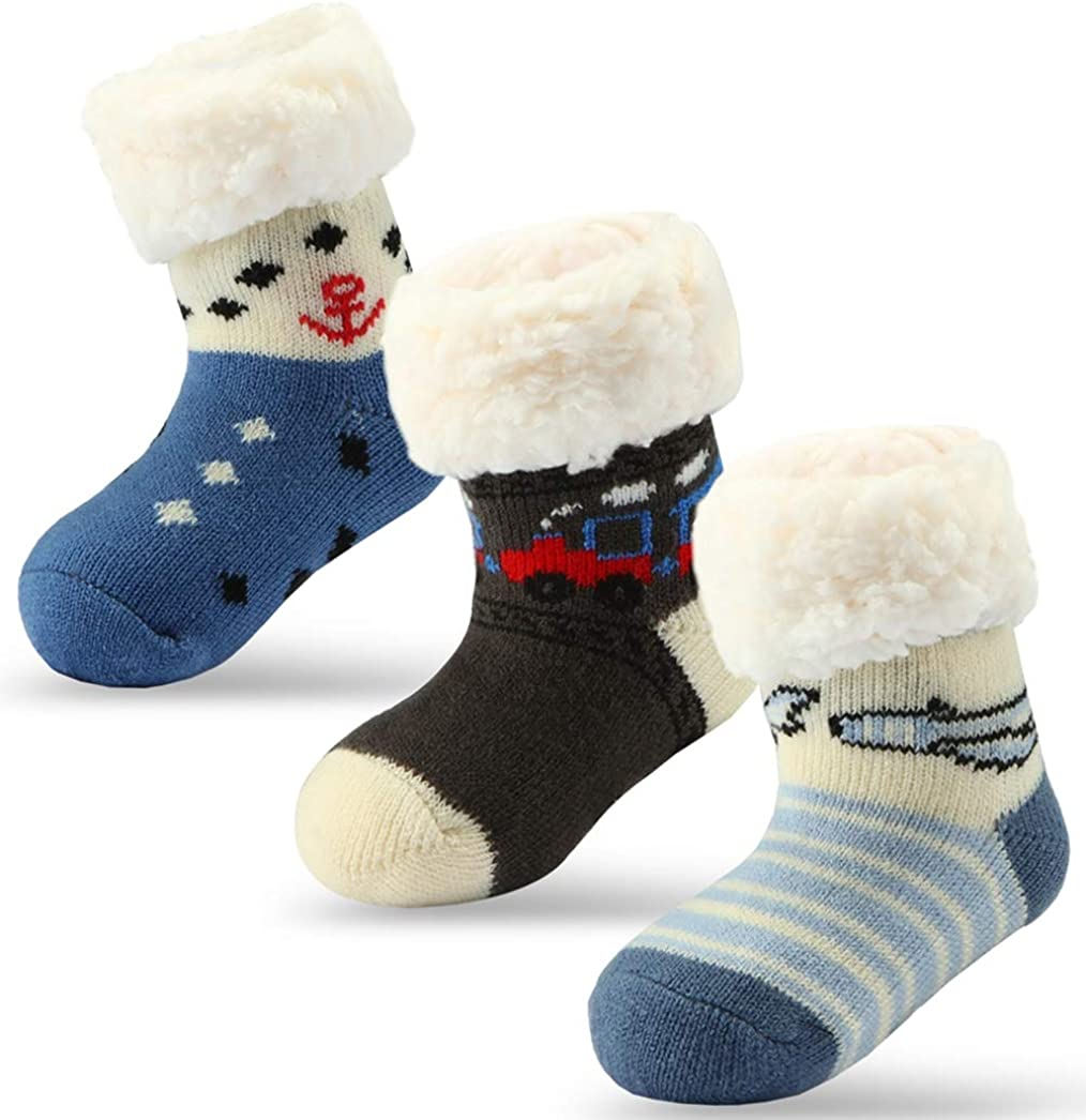 Winter Warm Socks with Grips for Toddlers Boys Girls,Crew//Ankle Socks rifix Baby Non Slip Socks 6 Pairs