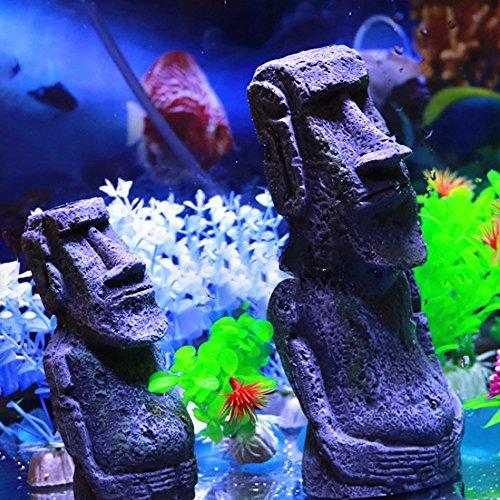 Y56 komisch Osterinsel Stein Stein Harz Handwerk antike römische Portrait Aquarium zubehoer deko Dekoration für Fische (L)