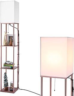 BBHome Lampadaire moderne avec étagère en bois, 3 températures de couleur à intensité variable, lampe sur pied en bois pou...